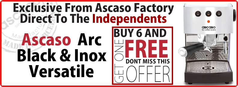 Buy six Ascaso Arc Black & Inox Versatile machines and get one free