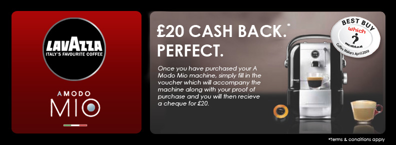 A Modo Mio Cash Back Promotion